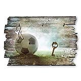 Kreative Feder Fußball Designer Schlüsselbrett, Hakenleiste Landhaus Style, Shabby aus Holz 30x20cm, HSB025