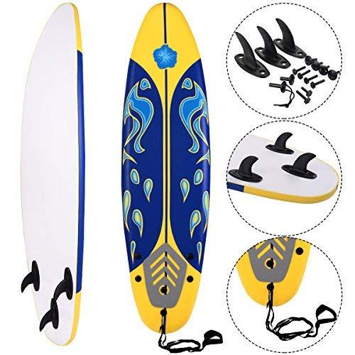 COSTWAY Surfbrett Surfboard Stand Up 6\' Funboard Shortboard Wellenreiter 182x 50x 8cm Farbwahl (Gelb)