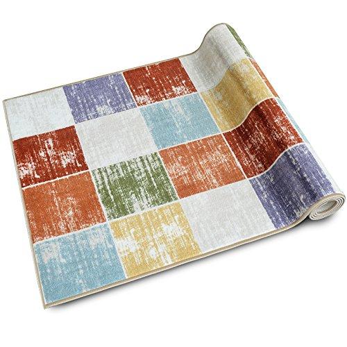 Teppichläufer Capera | Patchwork Muster im Vintage Look | viele Größen | moderner Teppich Läufer für Flur, Küche, Schlafzimmer | Niederflor Flurläufer, Küchenläufer | Breite 80 cm x Länge 100 cm