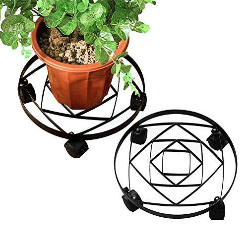 JKL-Blumenständer Blumentopfschale Kohlenstoffstahl Tragende 4 Räder Bewegliche Schalenboden Blumenregal EIN Satz von 2 - 4 Rad-satz Von