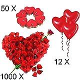 Jonami Romantische Kerzen und Rosenblätter Set | 50 Teelichter Herzform + 1000 Seide Rote Rosenblüten + 12 Rote Herzförmige Luf...