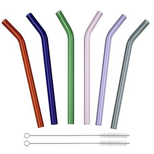 Pajitas de cristal Reutilizable largo doblado Pajitas de vidrio de beber 200mm * 8 mm Conjunto de 6 con 2 cepillos de limpieza,Saludable, Reutilizable, Respetuoso del medio ambiente, Sin BPA