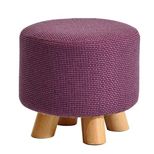 Durable Round Hocker Massivholz gepolstert Ottoman Hocker Fußstütze Make-up Hocker Schuh Klein Bank 4 Beine für Kinder und Erwachsene ändern (29 × 29 × 25cm) - Purple