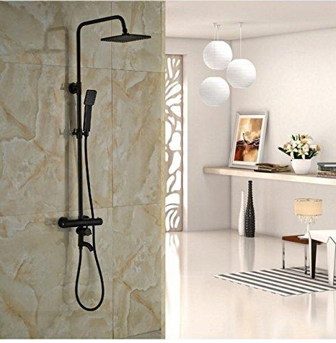 Gowe Thermostat Stil Wand montiert Badezimmer Dusche Wasserhahn 20,3cm Regen Dusche Kopf mit 149,9cm Dusche Öl eingerieben Bronze (Dusche Kopf Eingerieben Bronze)