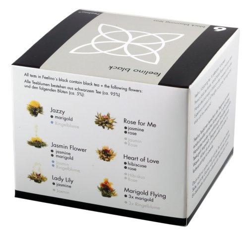 "Feelino Edle 6er-Mischbox Schwarztee-Teeblumen ""black"" in toller Probier- und Geschenkbox mit 6 verschiedenen -Teerosen, 1er Pack"