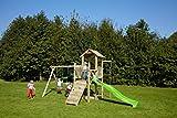 dein-spielplatz Spielturm Doppelschaukel Rutsche Kletterwand Kletterstange Sandkasten - PIRATE & PRICESS 5 - TÜV SÜD geprüft (Rutschenfarbe: hellgrün)