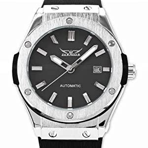 JARAGAR BANG AUTOMATIC SELF WINDING MECHANICAL SILVER STAINLESS MENS LUXURY HIGH END WRIST WATCH FOR MEN A-389
