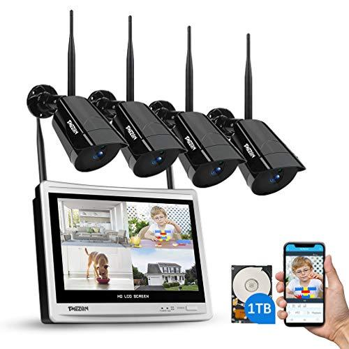 WLAN Überwachungskamera Set mit 12 Zoll LCD Monitor, TMEZON 4ch 1080P DVR Überwachungskamera System mit 8Stk 2MP Überwachungskamera 1TB Festplatte Wetterfeste DIY-Setup Kostenlose APP-Fernbedienung