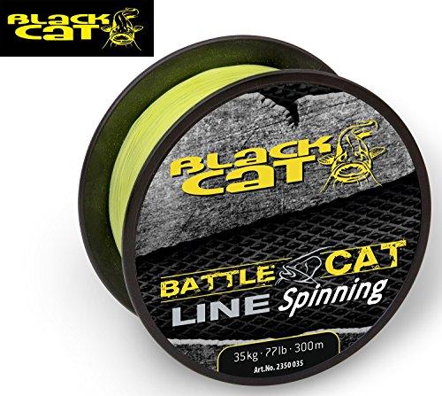 Black Cat Battle Cat Line Spinning 300m 0,35mm 35kg gelb Wallerschnur, Welsschnur, Angeln auf Wels, Welsangeln, geflochtene Schnur