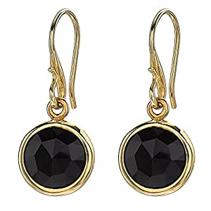Dower & Hall Jewel 18ct Yellow Gold Plated Faceted Round 10mm Onyx Drop Earrings