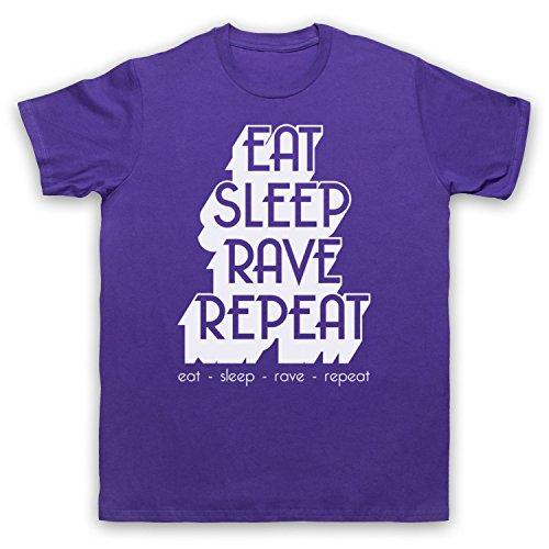 Eat Sleep Rave Repeat Dance Music Slogan Herren T-Shirt Violett