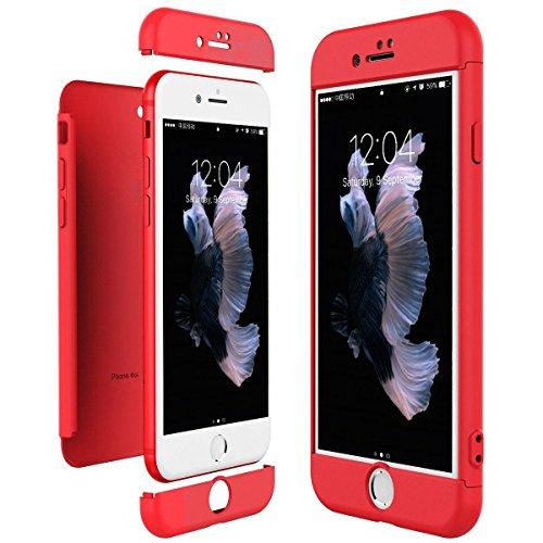 iPhone 6S 6 Hülle , JEPER 3 in 1 Ultra Dünner PC Harte Schutzhülle Case 360 Grad Schützend Handyhülle Anti-Kratzer Bumper Cover Vollschutz Schale für Apple IPhone 6/6s Red