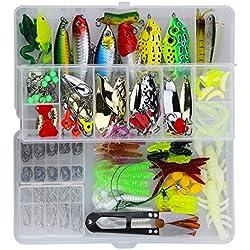 Leurres de Pêche Kit 235pcs - Spinnerbaits,Plastique vers,Minnow,Popper,Crayon en Métal Dur Leurres,Souples Pêche Jigs Crochets de Pêche - Kit d'appâts de Pêche Portable avec Boîte
