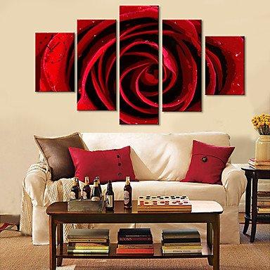 Y & M floral rouge horloge murale design en toile 5pcs