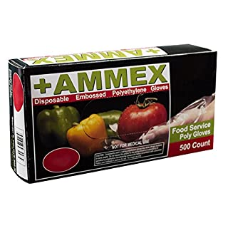 AMMEX - PGLOVE-M-500-MC - Poly Gloves - Disposable, Food Service, 1 mil, Medium, Clear (Mastercase of 10000)