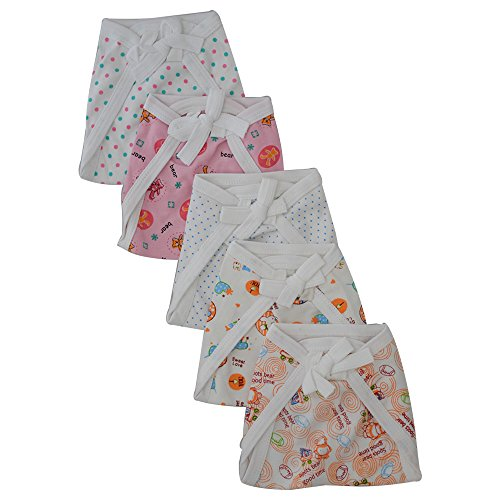 New born Baby white Cotton Cloth Nappies with colourful print 5 pcs Set - Washable, good quality