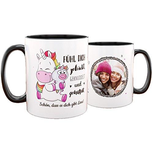 Personello personalisierte Einhorn Tasse (mit Foto und Text gestalten), Einhorn Geschenk für die...