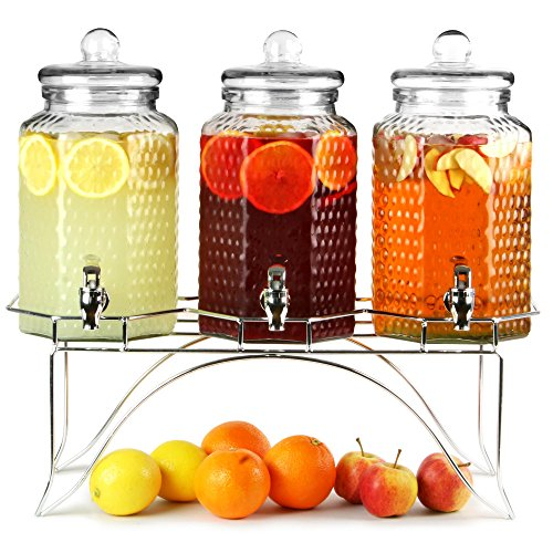 Del Sol Triple Dispensador de Bebidas con Soporte 12ltr Bar@Drinkstuff Dispensador de Bebidas, Triple Dispensador de Bebidas, Dispensador de Zumo, Dispensador de cóctel, Dispensador de Lemonada