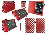 Emartbuy® Asus Google Nexus 7 2 II Tablet (Lanciato Luglio 2013) Rosso Doppia Funzione Stylus + Pois Rossi / Pu Bianco Multifunzioni In Pelle / Multi Angle Portafoglio / Cover / Stand / Case Typing