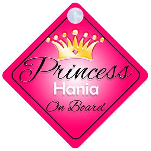 Principessa Hania on Board personalizzato Girl Car Sign Baby/child Gift 001