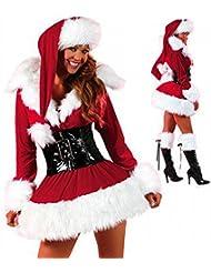 Ropa de Navidad de Manga Larga Ropa de Santa Ropas de Navidad Ropa de Navidad Mujer Adulta Foto de Uniforme,Rojo,Un tamaño