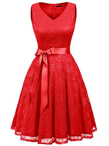 Party Kleider Für Frauen Cocktail (IVNIS RS90025 Damen Ärmellos Vintage Spitzen Abendkleider Cocktail Party Floral Kleid Rot 3xl)