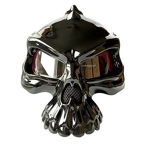 Casque de moto Street Bike Scooter casque à visage ouvert 3d Tête de mort casque de moitié [Noir mat Noir brillant argent doré Blanc] (Medium Large XL) - noir brillant - moyen