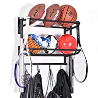 Wall Mounted 2 Tiers Adjustable Sports Ball Rack Storage Gear Equipment Organizer with Hook for Basketball Soccer Football Volleyball Exercise Ball Medicine Ball(Black)
