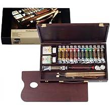 Rembrandt - Pintura al óleo - Caja de madera profesional - 12 tubos de 40 ml + accesorios