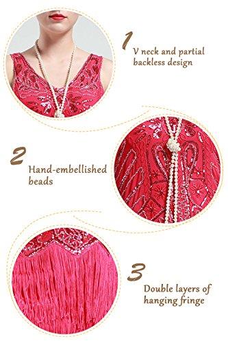 BABEYOND Damen Kleid Retro 1920er Stil Flapper Kleider mit zwei Schichten Troddel V Ausschnitt Great Gatsby Motto Party Kleider Damen Kostüm Kleid Rosa Rot