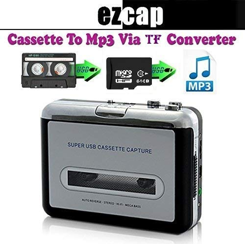 Microware Ezcap TF Card USB Portable Cassette to MP3 Converter Tape-to-MP3 Player through TF Card Micro SD Card with Headphones