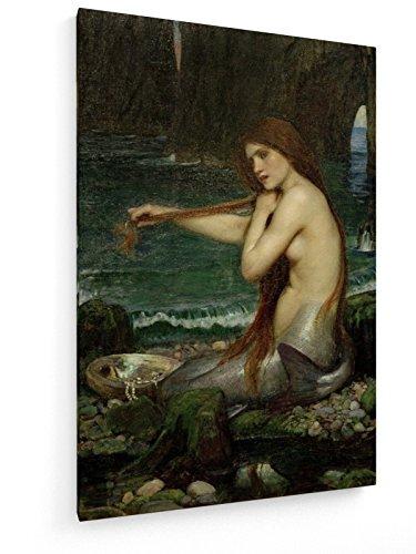 John William Waterhouse, A Mermaid - Malerei 1900-80x120 cm - Textil-Leinwandbild auf Keilrahmen - Wand-Bild - Kunst, Gemälde, Foto, Bild auf Leinwand - Alte Meister/Museum
