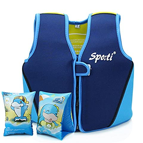 Kids Swim Jacket Baby Buoyancy Vest - Siuyiu Child life jacket Neoprene Float Jacket Baby Swimwear Aids (2017 New Design), For Kids Age 18 Months-6 Years Old Including Float Arm Bands, 8 removable floats with Adjustable Buoyancy,Designed to help children learn to swim (Small)