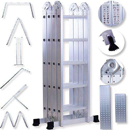 Masko® 6in1 Mehrzweckleiter 5.56M ALU Anlegeleiter Klappleiter Stehleiter Aluminium Modell: 4 x 5 Stufen mit Plattform