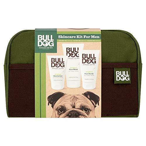 Bulldog Skincare Kit for Men with Wash Bag - Moisturiser 100ml, Face Wash 150ml, Face Scrub 125ml