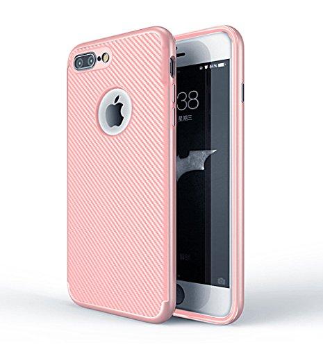 Apple iPhone 6S Hülle - Einfach Mode Handyhülle Ultra Dünn Weich Silikon Stoßfest Drop Resistance Handys Rückseite Schutz Hülle mit Kohlefaser Design Schutzhülle für Apple iPhone 6S Smartphone - Gold Rose gold