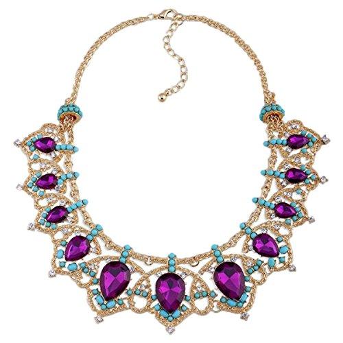 Lady Super Flash Voller Diamanten Edelstein Kristall Schlüsselbein Kurze Halskette Weihnachtsgeschenk Kristall Schmuck,Purple-OneSize