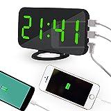 OXOQO Despertador Digitales, Reloj Despertador Digital, LED Digital Alarma Despertador Alimentado por USB, Snooze, Brillos Ajustables, 12/24 Horas, 2 Puerto USB