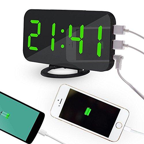 Pawaca 2018 New Fashion Spiegel Digital LED Wecker mit Dual-USB-Anschluss für Handy-Ladegerät, 6,5-Zoll-großen Bildschirm, Auto Dimmen, Snooze-Funktion, Diming-Modus - Grüne Schrift