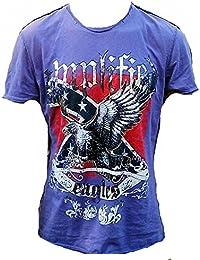 Amplified Herren T-Shirt Lila Purple Saint Sinner EAGLES USA Strass American Südstatten Tattoo Designer Hammer Special Edition Rock Star Vintage Nähte Aussen Club ViP Rockstar Design