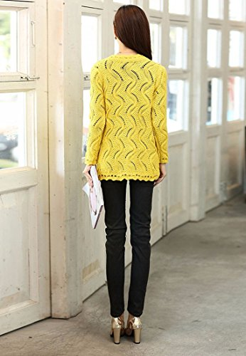 Mode Feminine Slim Col V Cardigan En Maille Evider Pull Hauts Manteau Veste Jaune