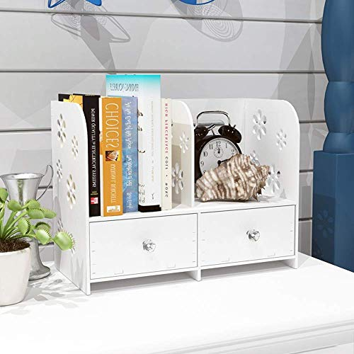 YANG Home Schlafzimmer Bücherregal Bücherregale Schreibtisch Organizer 2-Tier-Cut-Out Multi-Use Bücherregal Holzplastikplatten Lagerregal mit Einer Schublade, Student Dormitory Bett Bücherregal -
