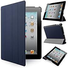 iHarbort® Apple iPad 4 iPad 3 iPad 2 Funda - ultra delgado ligero Funda de piel de cuerpo entero Smart Cover Case para Apple iPad 4/ 3/ 2, con la función del sueño / despierta, azul oscuro