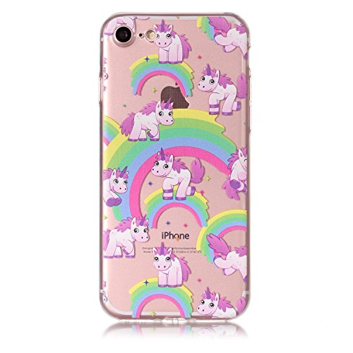 Coque iPhone 7(4.7 pouce),Linvei Ultra Mince TPU Silicone Design avec Shock-Absorption et Antichoc Housse - Sleeping Cat and Books Lovely Rainbow Horse