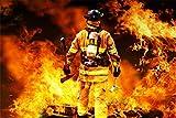 Feuerwehr Mann mit Axt Feuer Bild XXL Wandbild Kunstdruck Foto Poster P1108 Größe 120 cm x 80 cm