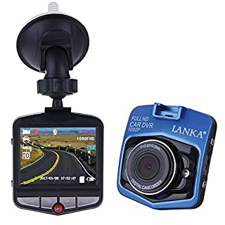 Dash Cam by Lanka Full HD 1080P 170 Wide Angle Dashboard Camera, Easy to Install Car Dvr Built In G-Sensor Loop Recorder Motion Detection, Blue