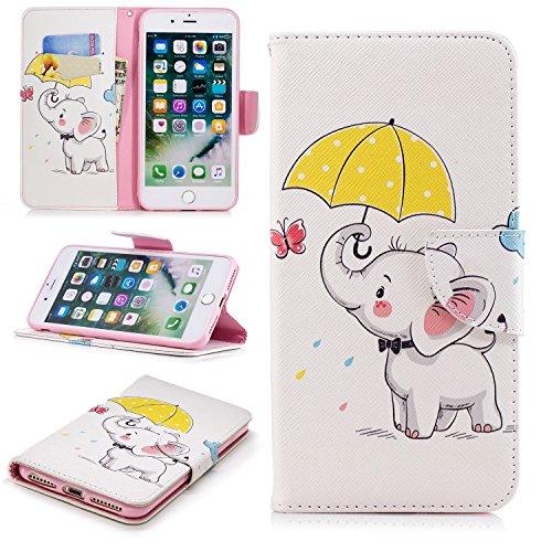Cozy Hut iPhone 7 Plus / 8 Plus Hülle, PU Leder Wallet Case Anti-Scratch Shell Cash Pouch ID Card Slot Magnetverschluss mit Standfunktion Etui für iPhone 7 Plus / 8 Plus - Regenschirm Elefant
