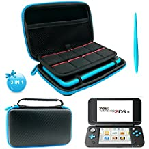 3 in 1 kits for New Nintendo 2DS XL - including Carrying Case for Nintendo 2DS LL,1 pc Stylus and 2 pcs Screen Protecters - Black