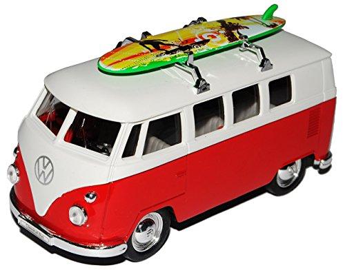 Welly VW Volkswagen T1 Rot Weiss mit Surfbrett Samba Bully Bus 1950-1967 ca 1/43 1/36-1/46 Modell Auto mit individiuellem Wunschkennzeichen