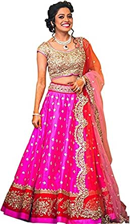 Fabmaza Woman's Georgette Semi stitched lehenga Choli For Woman Party Wear Navrati Special Gown (Fab109L_Pink_Free Size)